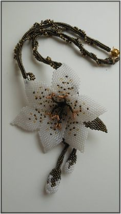 lily flower necklace Lily pendant Beaded necklace Brown necklace White lily Delicate necklace Earrings lily jewelry set Wedding necklace – The World Lily Jewelry, Bead Jewellery, Flower Jewelry, Yoga Jewelry, Jewlery, Floral Necklace, Seed Bead Necklace, Bead Earrings, Models