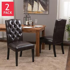 Mirabelle Bonded Leather Dining Chair 2-pack