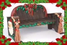 You can bet that this beautiful large Christmas bench will never go unnoticed. It has so much detail, beautiful coloring and unique design will keep heads turning and conversations going. The sitting matching santa is available. This one of a kind bench is such an asset to any type of decor for Christmas.. This would make a great photo prop for photographers, and a great addition to any decor for all of your Christmas events/parties or simply at your home for extra added seating.  Buy now.
