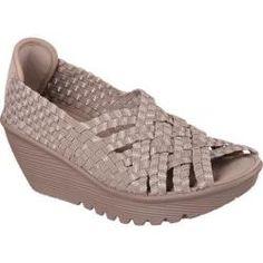 5e6bd6885675 Women s Skechers Parallel Take It or Weave It Taupe Silver Sketchers Sandals