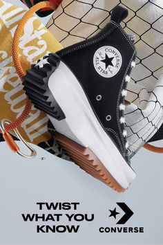Half runner, half Chuck & a whole lot of fun. The Run Star Hike is a ready-made classic, twisting comfort with standout style. Sneakers Fashion, Fashion Shoes, Fashion Outfits, Kids Sneakers, High Top Sneakers, New Converse, Converse Trainers, Lesbian Outfits, Star Shoes