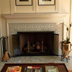 Avente Tile Project: Monochromatic Cement Tile Fireplace