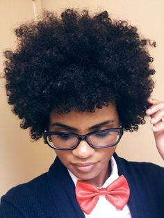 Afro look with tight curls