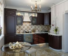 #Kitchen Idea Of The Day: A Small Traditional Italian Kitchen With An  Espresso Finish
