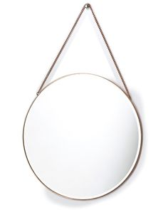 mirrordeco.com — Hanging Mirror on Chain - Round Copper Frame Dia:40cm