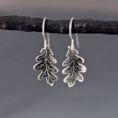 Etched Silver Oak Leaf Earrings  Nature Jewelry by lisahopkins, $89.00