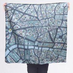 Paris France Silk Cotton Souvenir Scarf by McKeanStudio on Etsy, $75.00