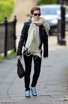 Emma Watson street style with leather jacket and sneakers