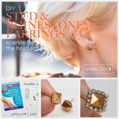 Stud and Rhinestone Earrings DIY Feature by Trinkets in Bloom