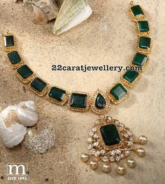 22 Carat gold antique necklace adorned with square shaped emeralds, uncut diamonds and south sea pearls by Mahalaxmi jewellers & pearls. Diamond Necklace Set, Emerald Necklace, Emerald Jewelry, Gold Necklace, Diamond Jewelry, Short Necklace, Peacock Jewelry, Quartz Jewelry, Green Necklace