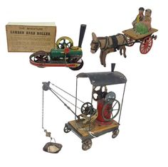 From a grouping of 19th-century Britains toys, including road rollers and steam-driven equipment. Estimates: Miniature London Road Roller, $3,000-$4,000; circa-1899 Steam Crane, $2,000-$3,000; Galloping Donkey, $1,200-$1,600.