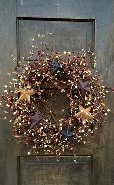 Patriotic Wreath with Barn Stars, Primitive Americana Wreath, Holiday of July Wreath, Country Wreath, Rustic Decor Christmas Time, Christmas Crafts, Christmas Decorations, Xmas, Holiday Decor, Etsy Christmas, Primitive Christmas, Father Christmas, Country Christmas
