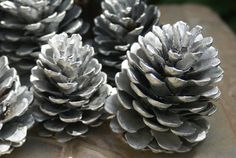 Silver Pinecones Natural Pinecones winter wedding by Teakberry Pinecone Centerpiece, Centerpieces, Pine Cone Decorations, Wedding Decorations, Painted Pinecones, Metallic Spray Paint, Vase Fillers, Fireplace Mantle, How Beautiful