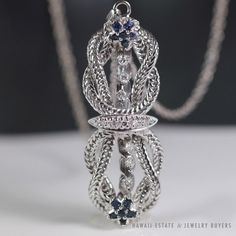 See more #vintage #jewelry #vintagejewelry on our website (link in bio!) #VINTAGE #NATURAL #SAPPHIRE #DIAMOND WOVEN 10K #PENDANT #BROOCH 14K WHITE GOLD 21.5""