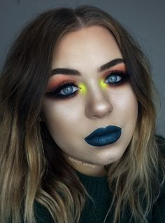 Smokey winged liner and teal lipstick by kayleigh_ashman