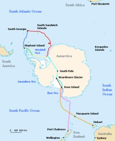 This is a map where the ship 'Endurance' had sailed. Shackleton's plan was that his party would lay supply posts across the Great Ice Barrier as far as the Beardmore Glacier, these posts would hold the food and fuel that would enable Shackleton's party to complete their journey of 1,800 miles across the continent.