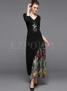 Shop for high quality Ethnic Chiffon V-neck Stitching Maxi Dress online at cheap prices and discover fashion at Ezpopsy.com