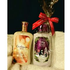 Bath & Body Works Bundle Bath & Body Works lotion bundle: Cashmere Glow and Merry Berry Christmas! Both never used, the berry one still has the original plastic bag from the store. They don't have the plastic seal but they have not been used. Bath & Body Works  Other