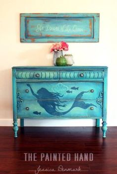 painted dresser - mermaid painted dresser - painted furniture by rosalyn