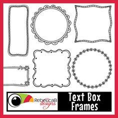 Clipart Doodle Frames Text Box Frames by RebeccaBDesignShop Doodle Frames, Doodle Art, Doodle Ideas, Standard Image, Doodle Borders, Clip Art, Frame Clipart, Art Store, Digital Stamps
