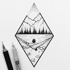 Mountain landscape # Art # Forest # - Norma D. Landscape Drawings, Landscape Art, Landscape Design, Forest Landscape, Drawing Sketches, Cool Drawings, Drawing Ideas, Tattoo Sketches, Easy Nature Drawings