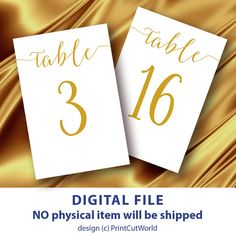 Modern Table Numbers 4x6 Printable Wedding By Printcutworld Gold Theme Glitter