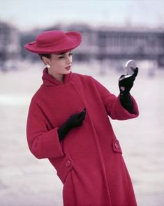 Georges Dambier. GIRL IN RED AT PLACE DE LA CONCORDE, FOR ELLE, WINTER COLLECTION PARIS 1957