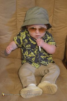Here's my son's cute baby costume: Raoul Duke from Hunter S. Thompson's Fear and Loathing in Las Vegas. Scary Baby Costume, Baby Costumes For Boys, Diy Baby Costumes, Homemade Costumes, Cute Costumes, Costume Ideas, Awesome Costumes, Halloween Costume Contest, Funny Halloween Costumes