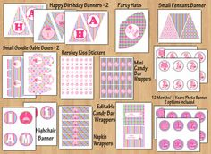 birthday party package printable birthday banner girl 1st birthday