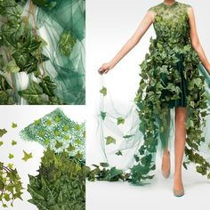 First, glue individual ivy leaves onto the top of the dress starting from the neckline and working your way down towards the waist. Overlap each leaf with the one above it to create a layered effect. If you have different sized ivy leaves to work with, glue the smallest ones towards the top, and use increasingly larger leaves as you work your way down. Once you've reached the waistline of your dress, turn your attention to the tulle. Measure out a strip of green ribbon big enough to tie…
