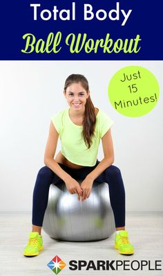 15-Minute Ball Workout Video. One of my favorite home workouts! Only 15 minutes, but it is HARD!! | via @SparkPeople #fitness #workout #exercise #stabilityball