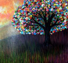 Button Tree 0004 Painting by Monica Furlow - Button Tree 0004 Fine Art Prints and Posters for Sale Button Tree Art, Button Art On Canvas, Arts And Crafts, Diy Crafts, Pop Can Crafts, Simple Crafts, Cork Crafts, Tree Crafts, Paper Crafts