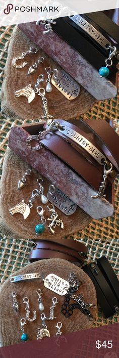 """✨Exclusive ID Bar✨""""Country Girl""""💎Build UR Bling💎 ✨Exclusive✨Hand Stamped Custom Design✨ID Silver tone bar✨💎Build UR Bling💎Choose Black or Brown Leather Wrap, Or Brushed Silver or Black Rhodium plated chain(custom wrist sizing)✨Also Choose 2 charms included from: Turquoise, Heart, Horse, Pearl, Boot, Horseshoe, Crossed Guns charm (made of alloy no lead or nichol) just message me✨ 🎁Comes wrapped for the perfect gift🎁 Build UR Bling Jewelry Bracelets"""