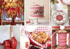 Red Ribbons - Rustic Country Wedding Ideas (I like the cake and plates)