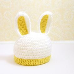 Crocheted Bunny Rabbit Hat, Bunny Ears Beanie, Photo Prop, Toddler Sizes, Yellow Christmas In July Crochet Tutu, Crochet Cocoon, Crochet Bunny, Crochet Baby Hats, Crochet For Kids, Diy Crochet, Crochet Crafts, Yarn Crafts, Crochet Ideas