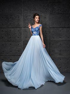 20d0fe1605a2 Modré šaty na stužkovú s čipkou a padavou sukňou Margarita