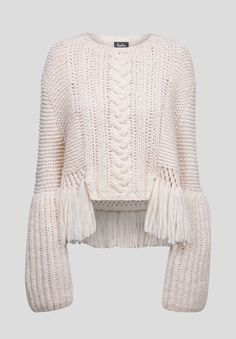 Jumper Vanda, Light fringe and cabled sweater Knitwear Fashion, Knit Fashion, Sweater Fashion, I Love Fashion, Knitting Wool, Knitting Patterns, Lala Berlin, How To Purl Knit, Cotton Sweater