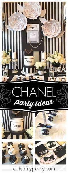 Check out this stylish Chanel 40th birthday party! The birthday cake is amazing!! See more party ideas and share yours at CatchMyParty.com #chanel #fashion #40thbirthday