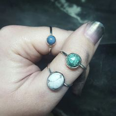 All 3 now available. 💙 From the top 6mm Owyhee Opal; 8mm Turquoise & last but not least 12x8mm Howlite.