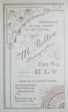 M. Bolton, Photographer, Patronized by the Centry of the Towns, Fore Hill, Ely, England.(Photo Ebay HelenF128)