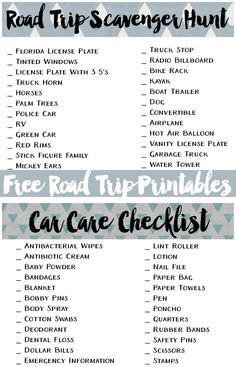Download these free road trip printables. Stock your car with this car care kit list and play a fun scavenger hunt with your kids! #mycopilot #ad