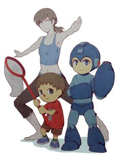 Wii Fit Trainer, Mega Man, Villager - Super Smash Bros fan art