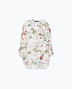 ZARA - DAMEN - Gemustertes Shirt mit asymmetrischem Saum, 39,95 EUR