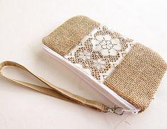 Lace Burlap wristlet burlap clutch bridal cluth by burlapshop, $21.50