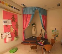 Corner stage...perfect for the dramatic play area.