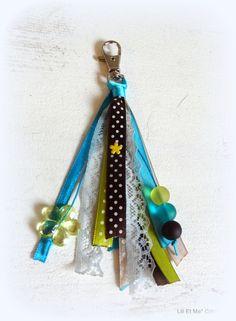 """Bijou de sac, grigri, Lili et Ma* Créations """"Les p'tits pois verts et bleus"""" : Porte clés par lili-et-ma-creations"""
