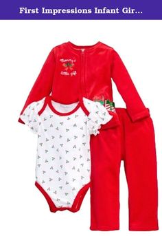 """First Impressions Infant Girls 3 PC Mommys Little Gift Jacket Creeper Pants 6-9m. Your baby girl will look adorable for Christmas in this 3 piece red """"Mommy's Little Gift"""" outfit. It includes a velour zip front jacket with Holiday gift appliques, white creeper with holly print, and red velour pants. Infant Girl's sizes 75%Cotton/ 25% Polyester velour zip front jacket Cotton snap bottom creeper with lap shoulders & capped sleeves 75%Cotton/ 25% Polyester velour elastic waist pants Brand:..."""
