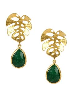 Monstera Earrings with Green Drop Jades by toosis on Etsy
