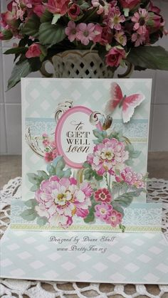 Get Well Friend Pop up card designed by Diane Shull using Anna Griffin products purchased from HSN.