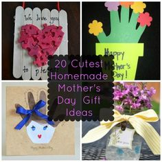 20 of the Cutest Homemade Mother's Day Gift Ideas!Pin now, read later 20 of the Cutest Homemade Mother's Day Gift Mother's Day Activities, Holiday Activities, Holiday Crafts, Holiday Fun, Creative Activities, Homemade Mothers Day Gifts, Homemade Gifts, Mother Day Gifts, Mother's Day Projects